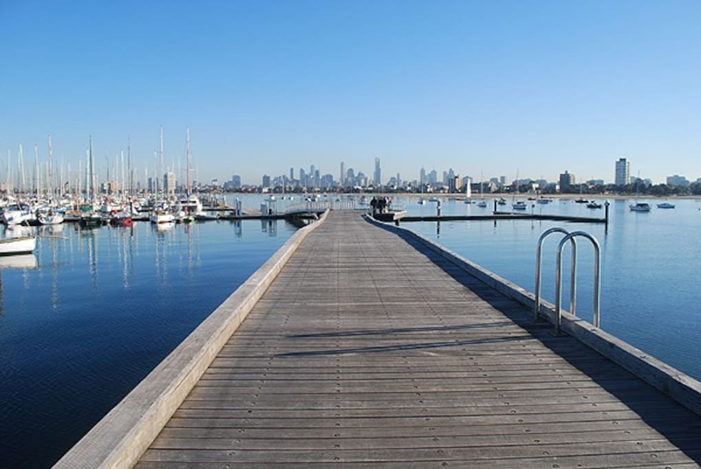 Royal Melbourne Yacht Squadron marina berths at the  St Kilda Pier.