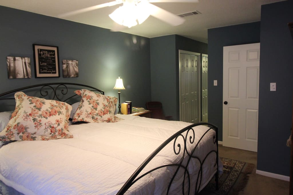 Upstairs bedroom with king bed and lots of closet space.  Has a full bath (shower).