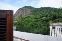 As portas duplas de acesso ao terraço. Ao fundo, a montanha São João e sua reserva florestal.