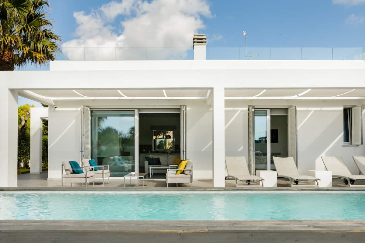 Contemporary Beach Villa with Pool and Gardens