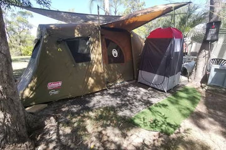 Exterior of new Tent with Shower/Toilet Tent directly outside