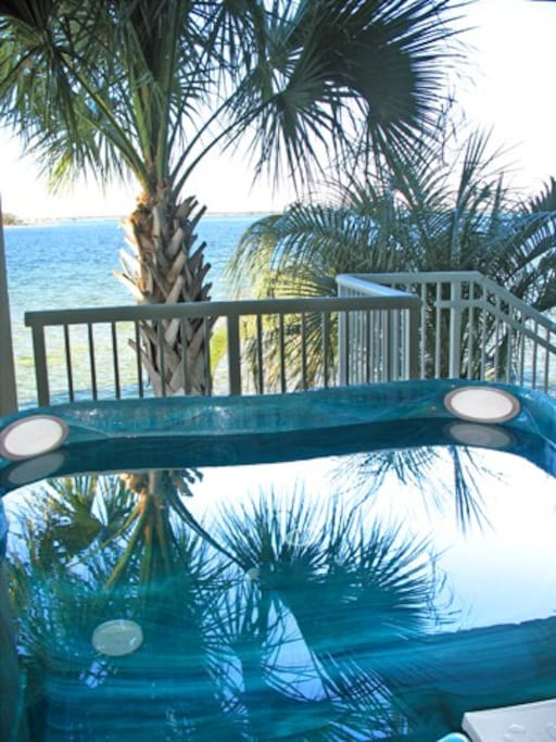 View from the hot tub overlooking the bay.