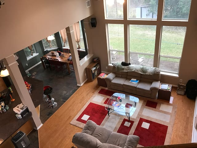 Open plan family room connected to kitchen