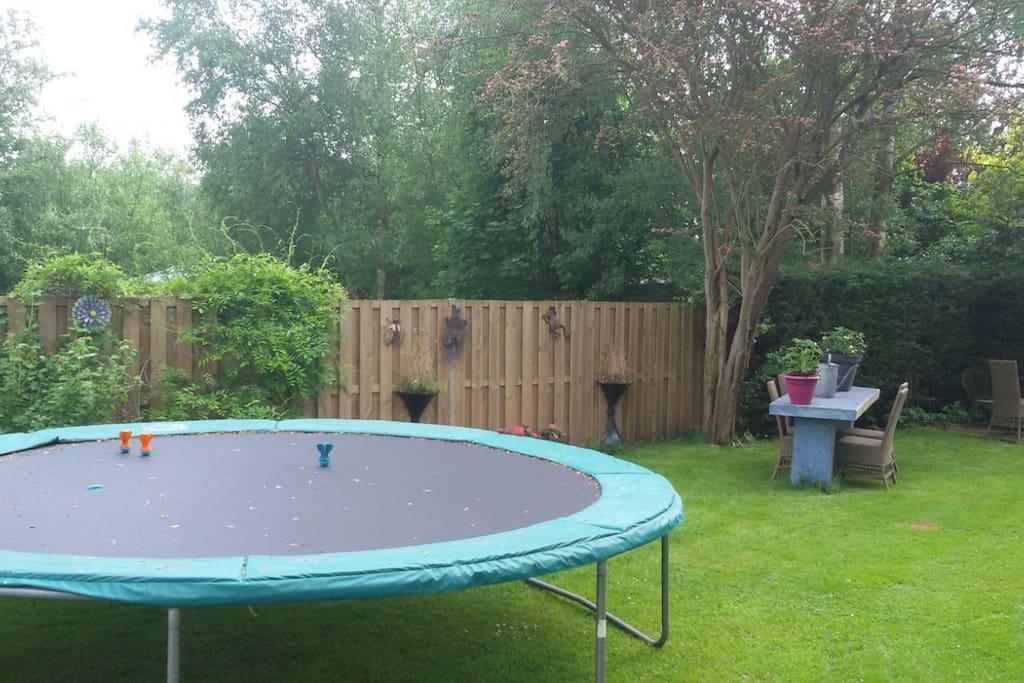 Achter in de tuin een grote trampoline en schommels