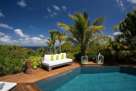 Uniquely Shaped Pool Surrounded by Wooden Terrace, Full-Sized Outdoor Living Room, Free Wifi