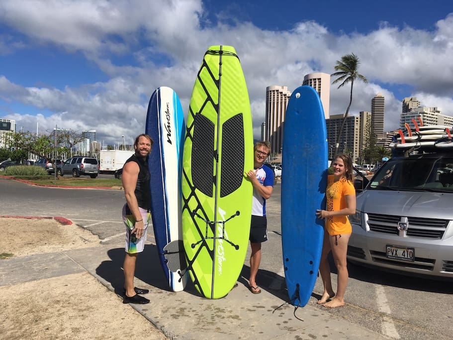 Complimentary surfboard including Stand up paddle board surf lessons 15 per person or 20 for 1 person Waikiki is 55 to 70 per person per hour