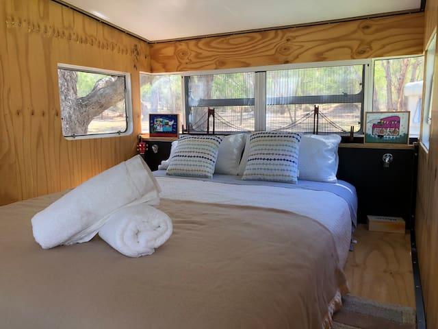 Interior of the master bedroom van