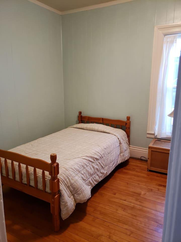"""1880 House """"Raquette room"""". Downstairs room."""