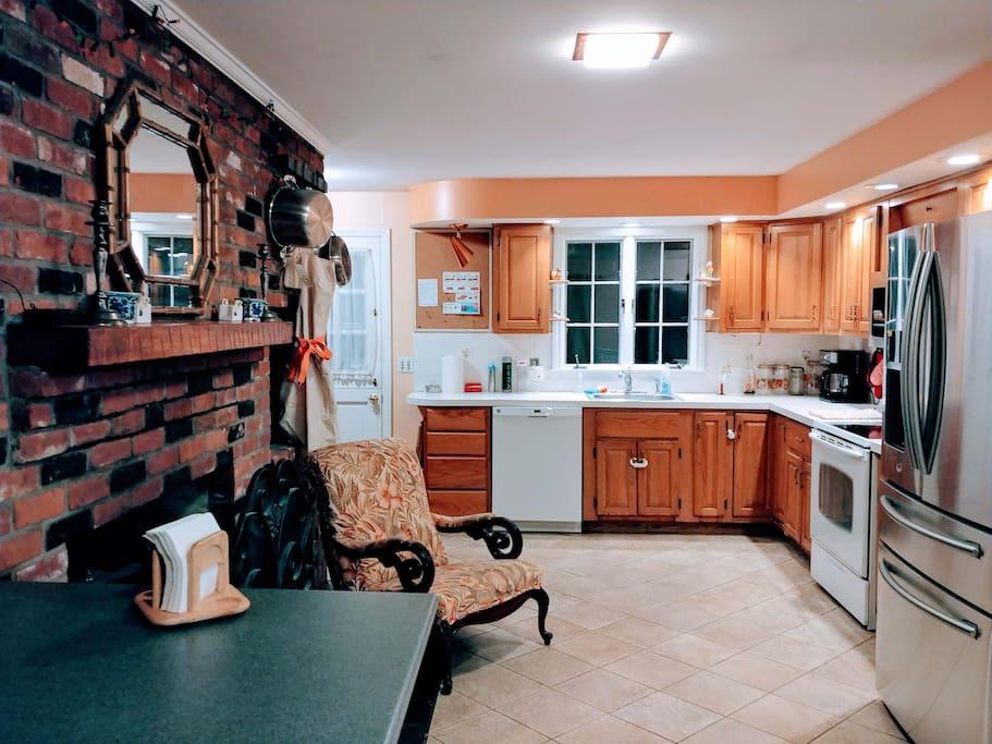 kitchen with corner island