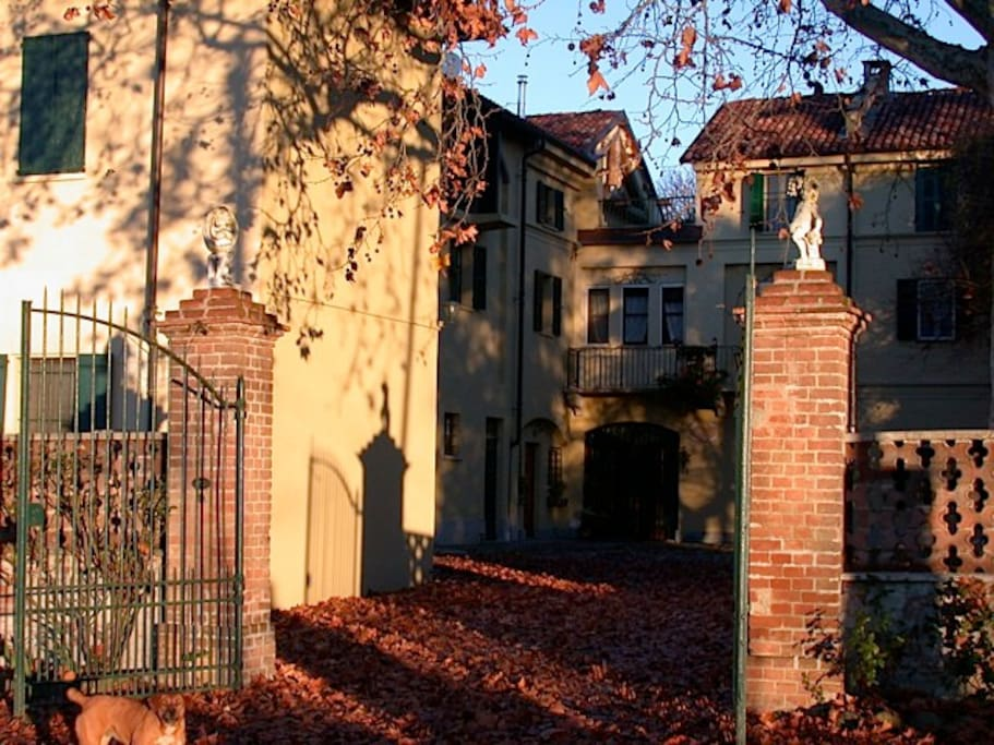the villas' entrance, autumn leaves