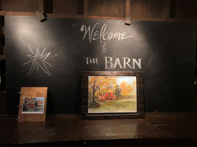 Painting of The Barn and Guest Book