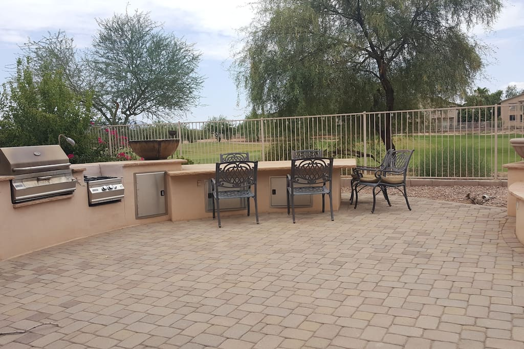 Large outdoor dining table and BBQ