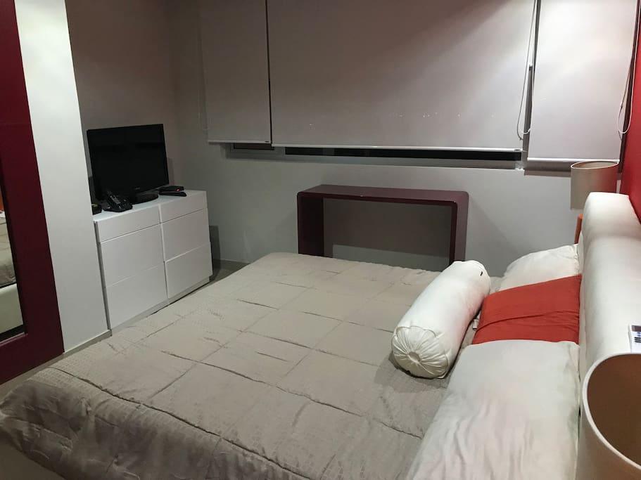 Recamara principal con cama King, TV con Cable, amplio closet y A/A