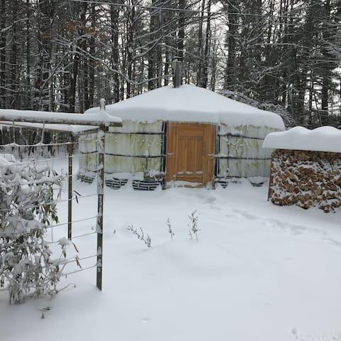 Winter Eco Mongolian Yurt in the Berkshires