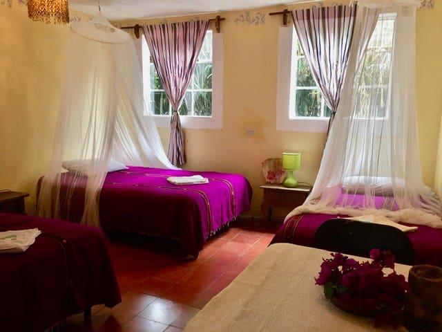 Dormitorio con 4 camas individuales  ideal para una familia