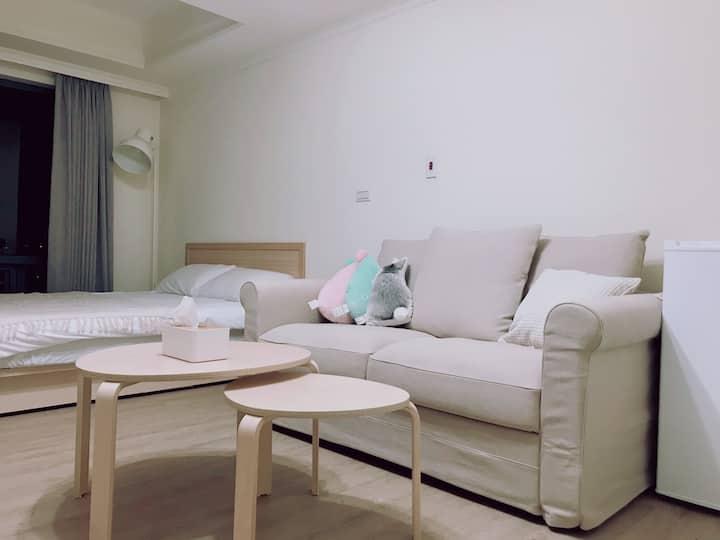 -Hana's-淺色夢夢屋/近勤美商圈/飯店式公寓/高樓層景觀