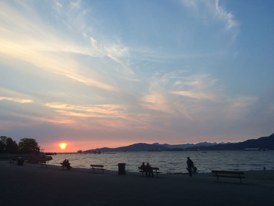 Typical sunset at Kits Beach.