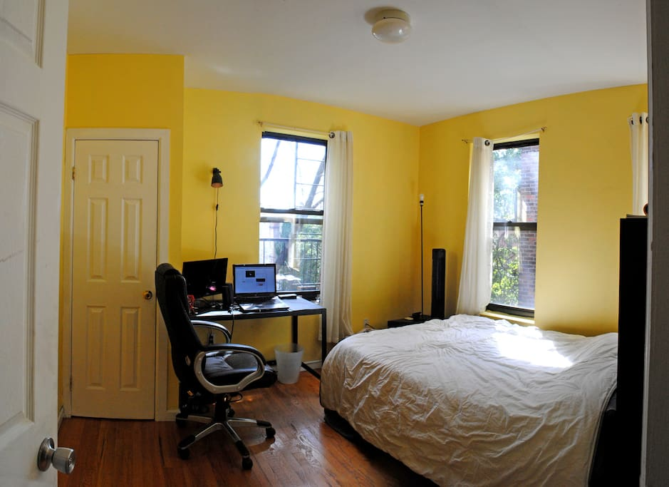 Bedroom with 3 windows and fire escape