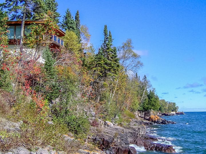 Baileys On The Lake is a beautiful Lutsen vacation rental home with 180 degree views of scenic Lake Superior