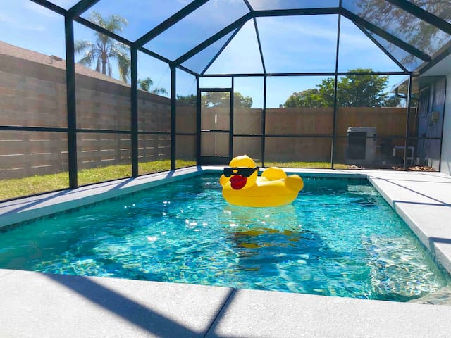 Heated Pool ☀️ Near Beach - 80 inch TV - Sleeps 20