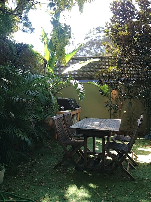 North-facing sun filled garden. You are welcome to use BBQ.