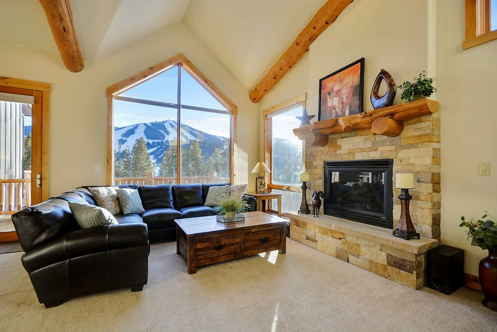 Comfortable lounge with large gas fireplace