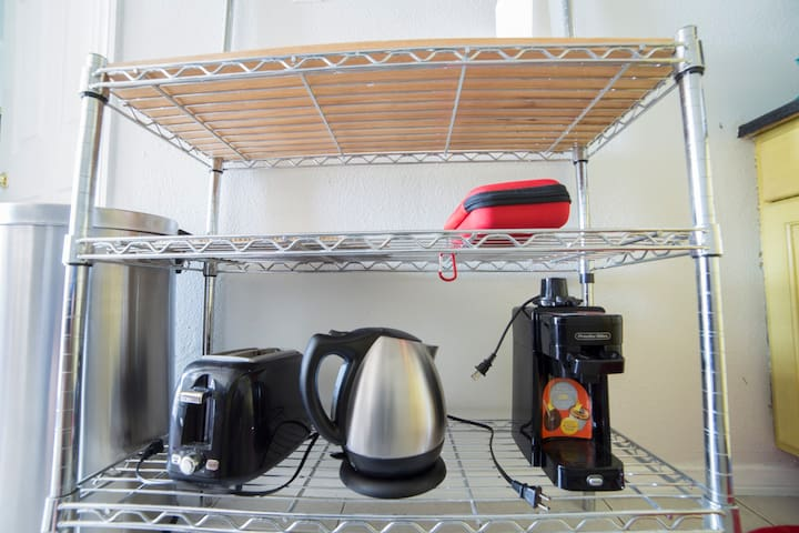 Toaster, Tea Kettle, Single cup coffee maker, first aid.