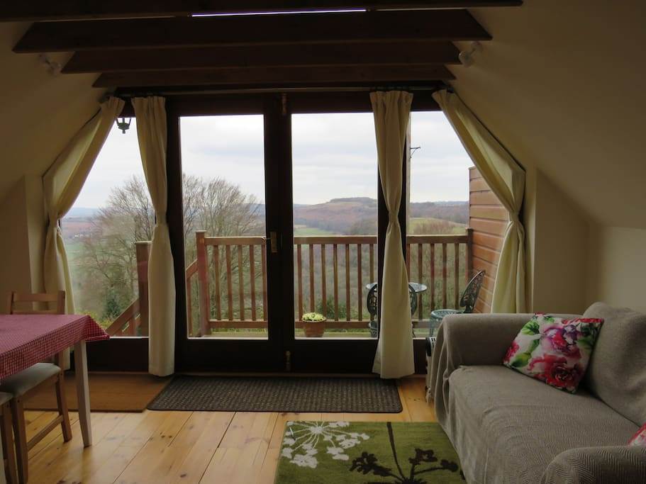 Panoramic window onto the balcony