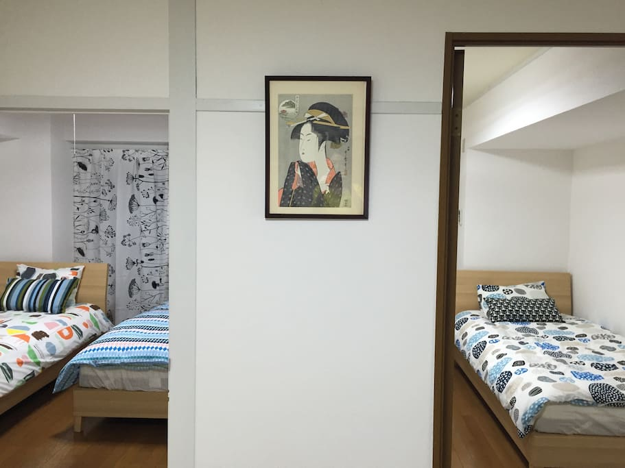 2bedrooms with 4single bed.
