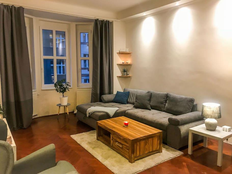 Living room with queen size studio bed