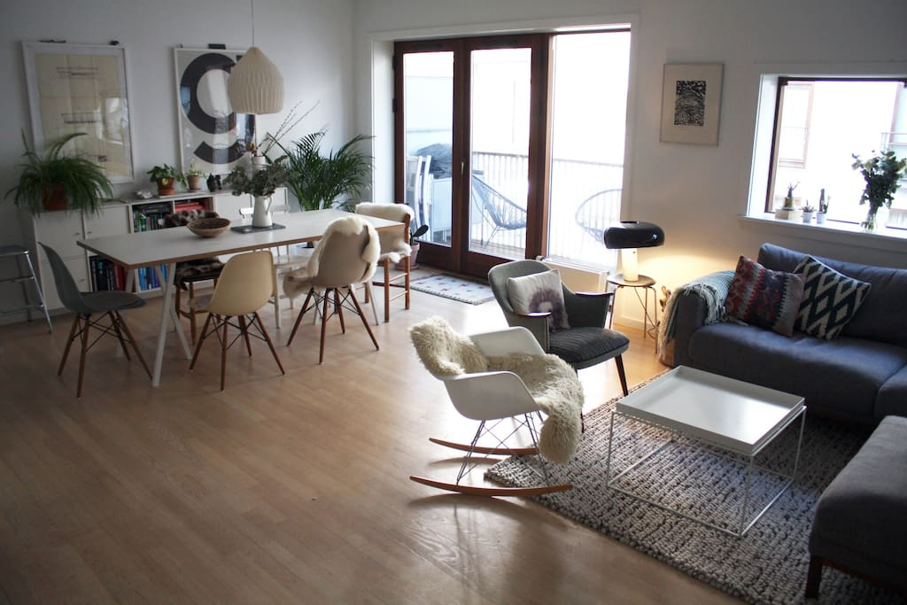 Combined living space and dining area