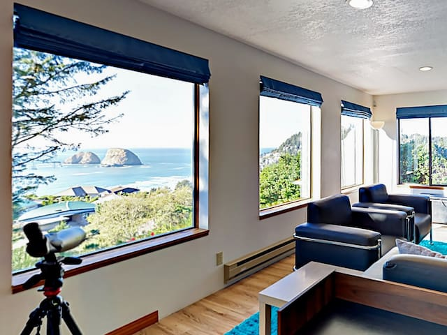 Enjoy the incredible view from living room. (Please note the telescope is not available.)
