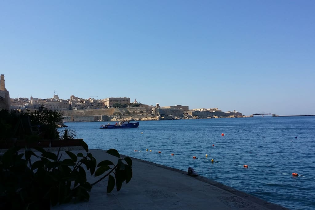 the entrance to Malta's Grand Harbour as seen from the terrace