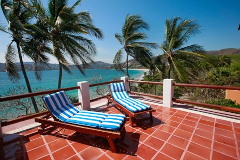 Private terrace, Upper House, overlooks Zihua Bay and Sierra Madre Mtns.