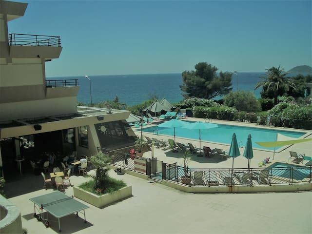Studio climatisé piscine chauffée et plage à pied