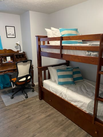 Bedroom 2: 3 Twin Beds (Bottom Drawer /Trundle Twin Bed) Pillows & Beddings in the Closet)