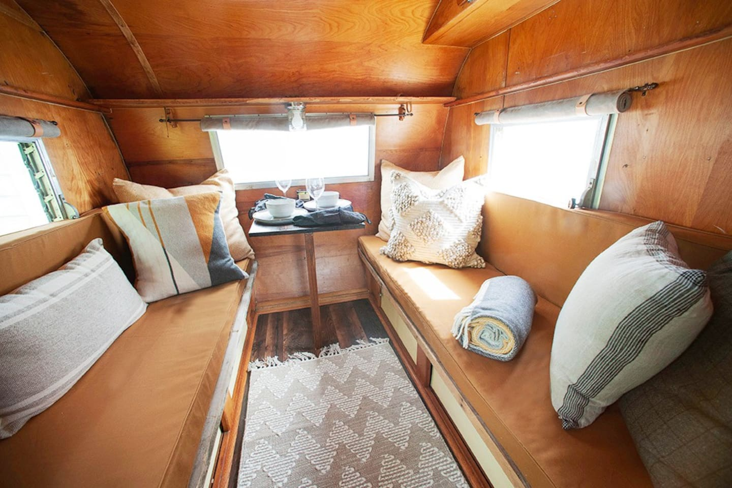 The camper can sleep 2 comfortably.