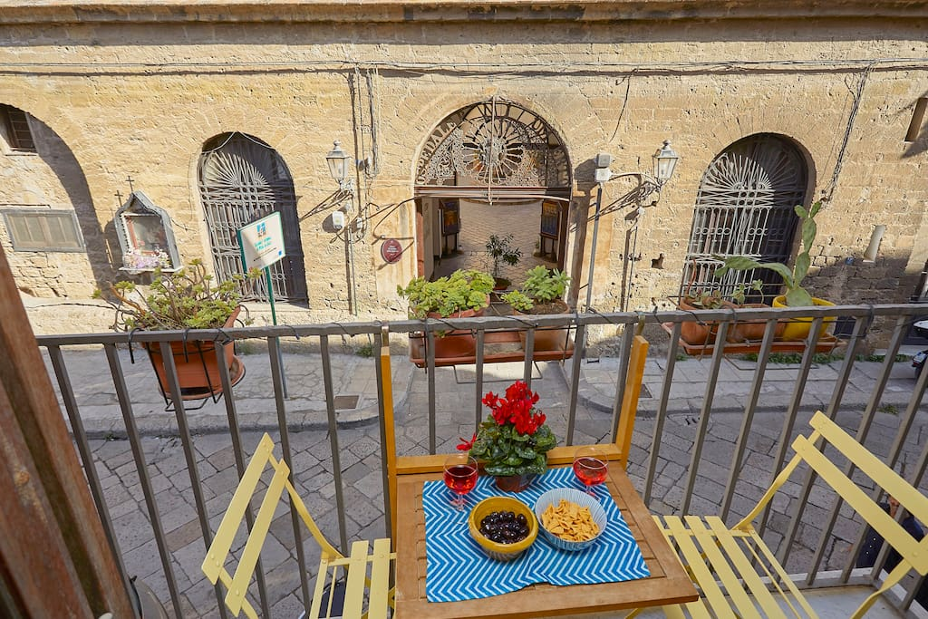 Romantic balcony in front of Spasimo Church