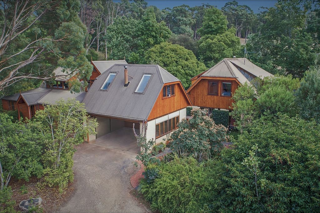 Aerial view of Mandala bnb with Studio Loft in forefront