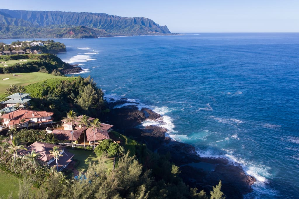 Aerial showing proximity to Makai Golf Course (Ocean 7) with Haena and Mount Makana in the background.