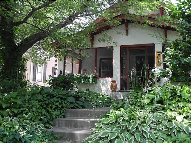 Hostas dominate the front garden in the warmer months.