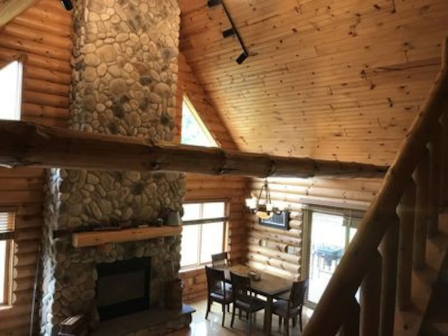 View going up from the loft! The Fireplace will keep you warm!