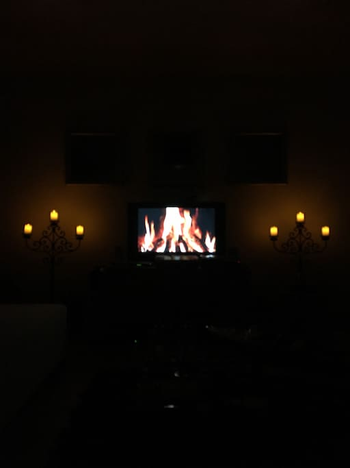Chilling at the living room with music and candels