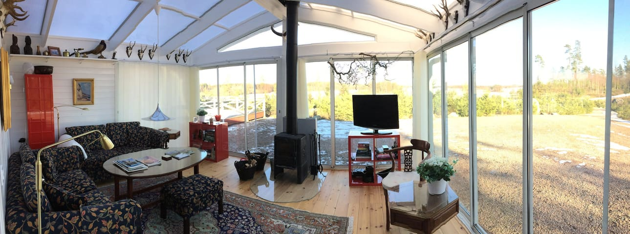 Conservatory and living room.