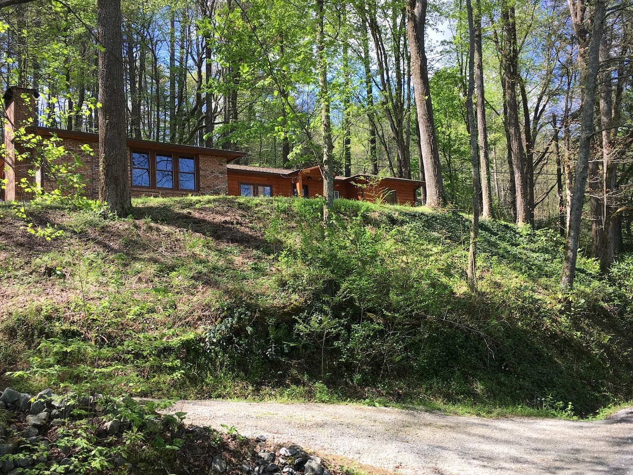 The house is perched up on a hill overlooking the Wolffork Valley
