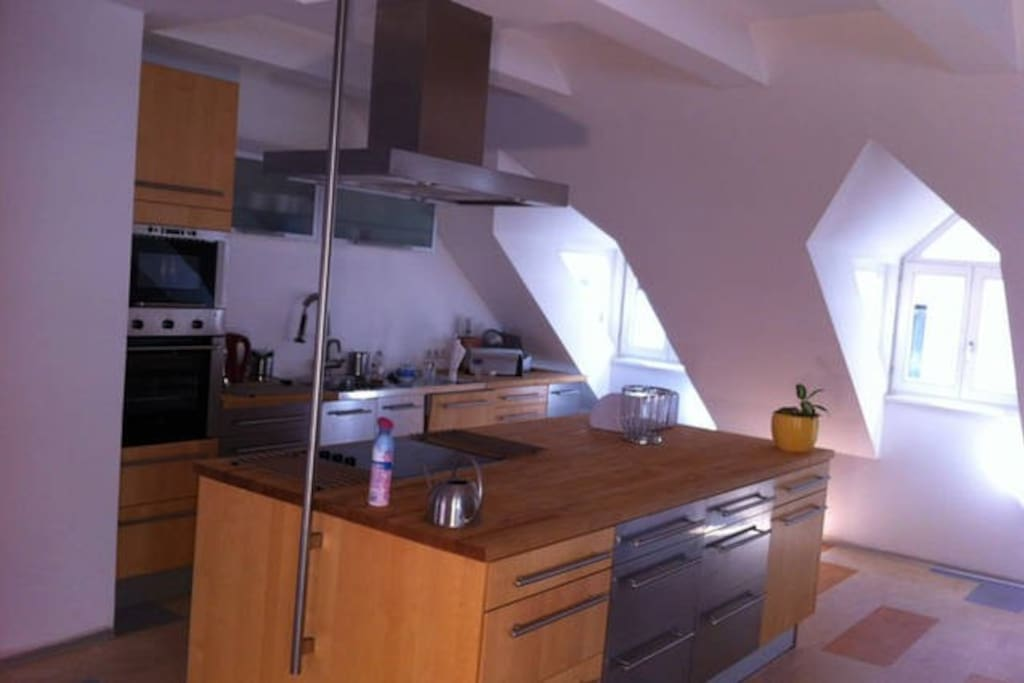 fully loaded kitchen: microwave, oven, dishwasher...