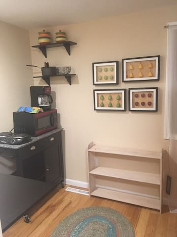 Kitchenette is small but functional.