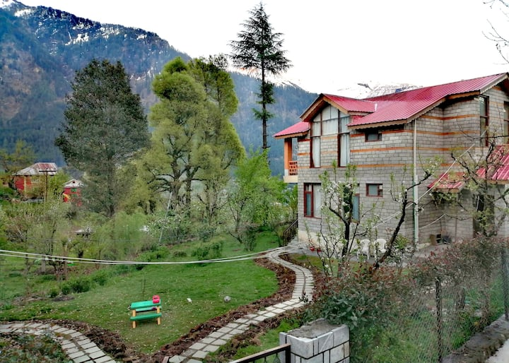 Room with mountain view from bed | Moksha Cottage