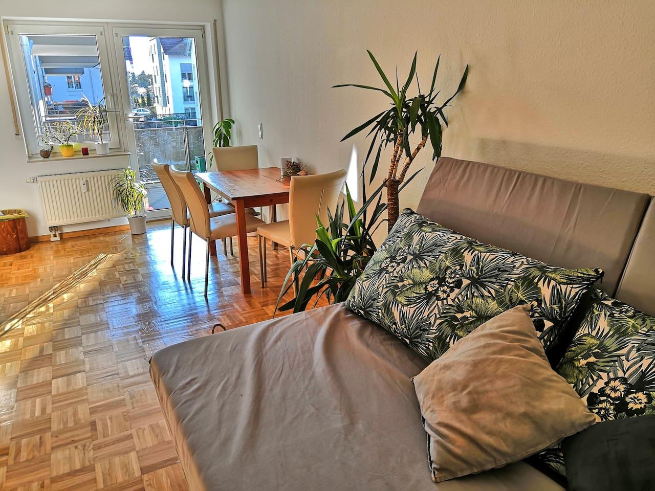 Living room: view towards balcony