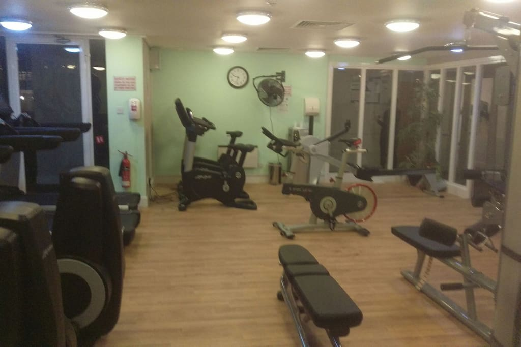 Gym, including treadmills, light free weights, resistance machines and bike.